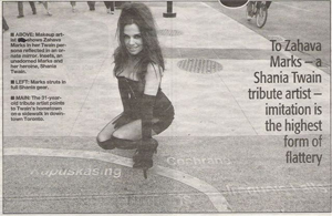 PHOTO DOCUMENTARY WITH THE  TORONTO SUN ABOUT ZAHAVA'S LIFE AS A SHANIA TWAIN TRIBUTE ARTIST